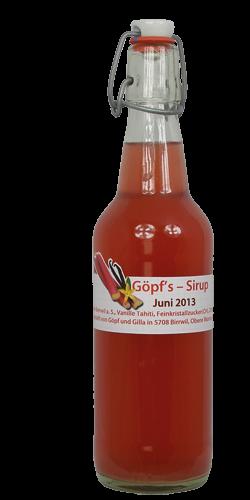 <p>Rhabarber-Vanille ist ein absolut erfrischender Fr&uuml;hlingssirup in Pink. Das Ph&auml;nomen, sobald der Sirup mit Wasser gemischt wird, verwandelt er sich zu einem edlen milchig-weissem Getr&auml;nk. Original-Vanilleschoten aus Tahiti, f&uuml;r deren Anbau die Bl&uuml;ten von Hand best&auml;ubt werden, geben diesem Sirup den vollendeten Geschmack. <br />Die rote Farbe erh&auml;lt der Sirup vom roten Rhabarber , dank dem speziellen G&ouml;pf/Gisi-Herstellungsverfahren.<br />Erwachsene und Kinder lieben ihn auf Anhieb. Dieser Sirup ist ein aussergew&ouml;hnliches Mitbringsel, nat&uuml;rlich, speziell, wie all unsere Sirupe!</p>